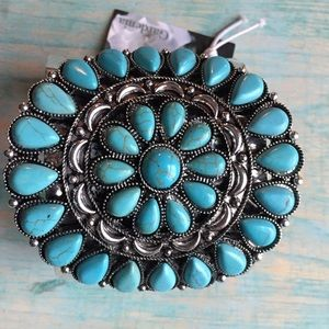 Turquoise and silver large cuff bracelet